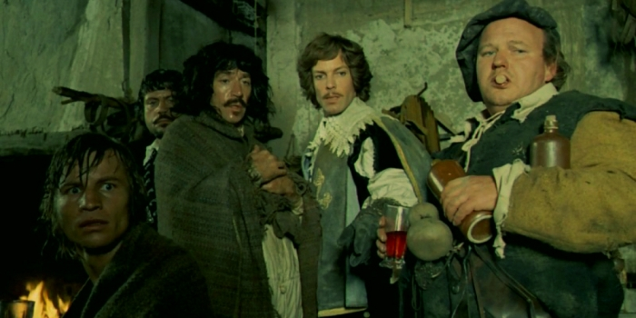 The Four Musketeers (L-R Michael York, Oliver Reed, Frank Finlay, Richard Chamberlain, Roy Kinnear)